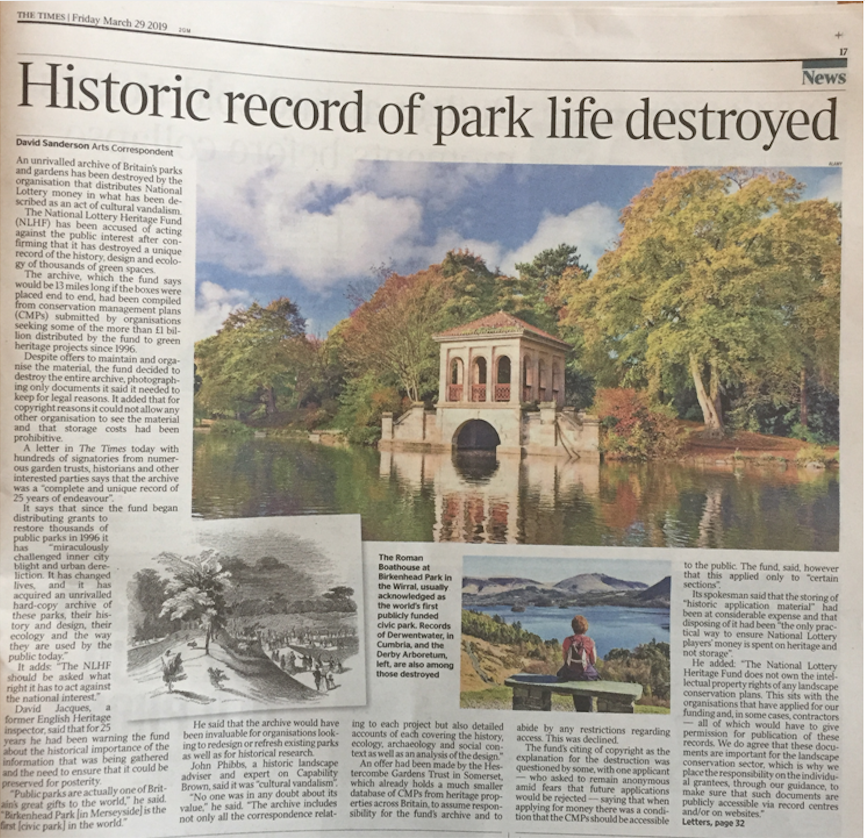 Historic Record of Park Life Destroyed Article in The Times, 29 March 2019