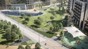 Visualisation of the new park at Wembley Park where the Repton bust will be