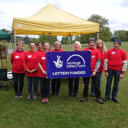 Sharing Historic Landscapes volunteers at Worley Woods, Birmingham with HLF banner