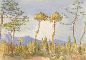 Painting by Gertrude Jekyll of landscape in Algiers