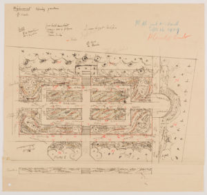 Jekyll's hand-drawn plan for the planting at Highmount, Surrey, courtesy of EDA