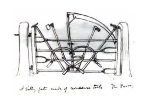 A sketch by Jekyll of 'A silly gate made of nonsense tools'