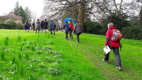 CGT volunteers walking through Stancombe Park in Gloucestershire learning how to comment on planning applications