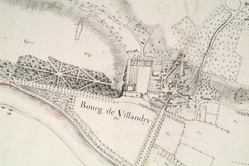A plan of the Château et Jardins de Villandry in around 1700