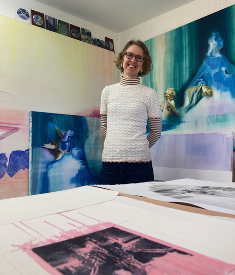 Jane Frederick, Essex GT artist in residence, photographed in her studio