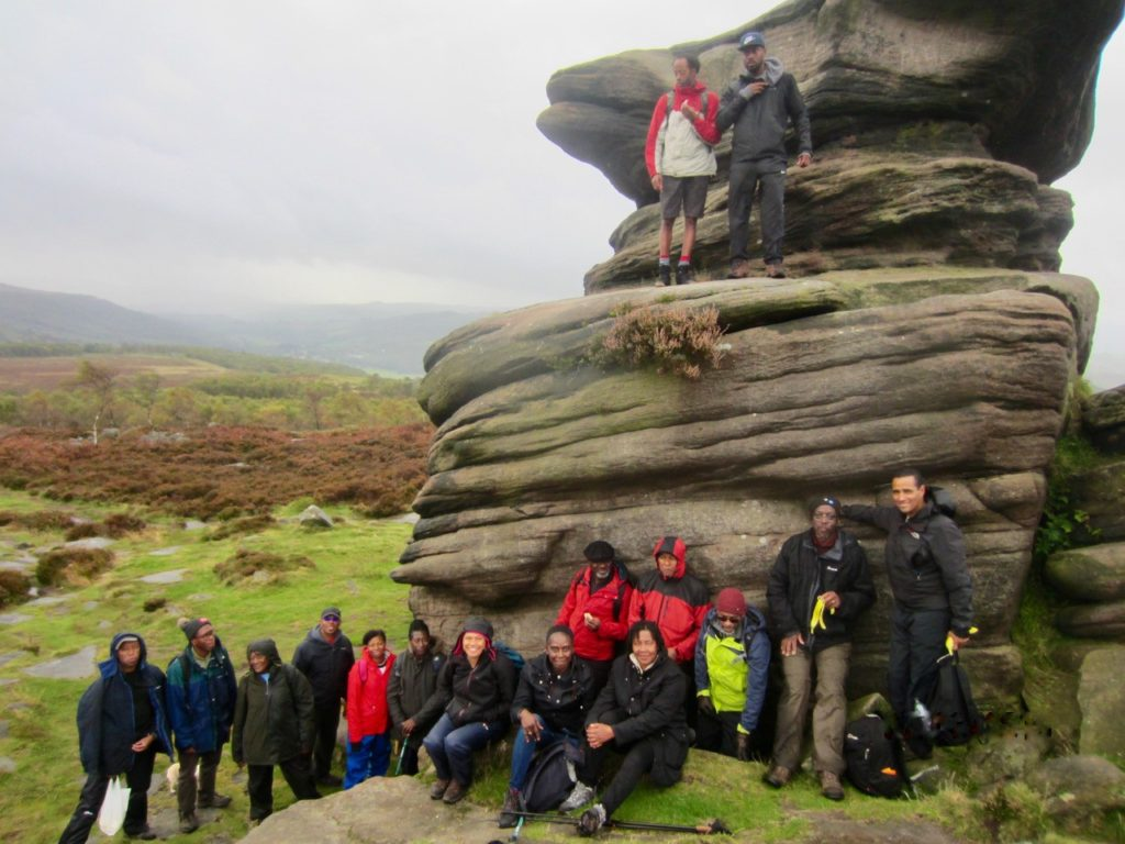 The Black Men Walking group out in the English landscape