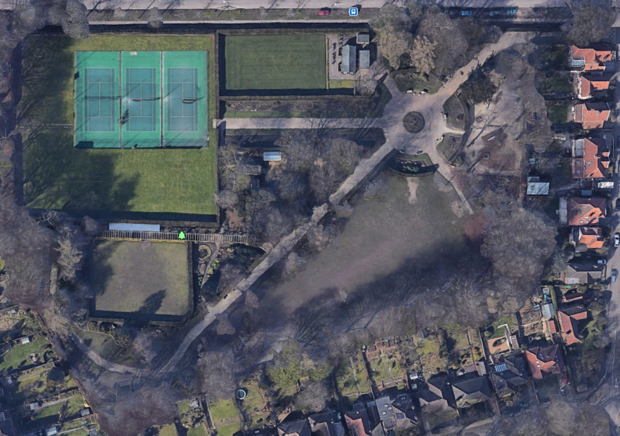 Birds eye view of Heigham Park showing proposed new tennis courts