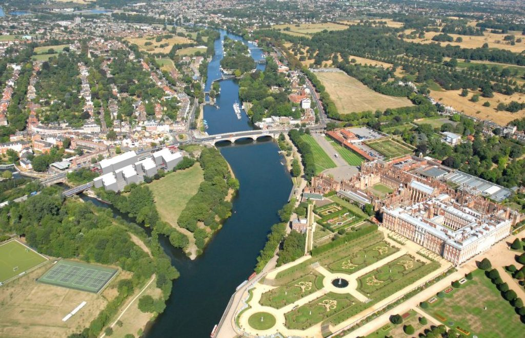 Aerial view of Hampton Court landscape with proposed development
