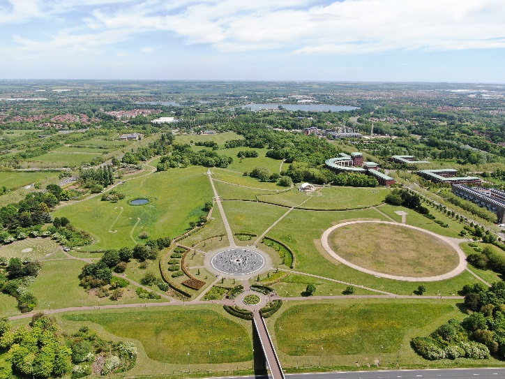 Aerial view of Campbell Park with Willen Lakes in the distance