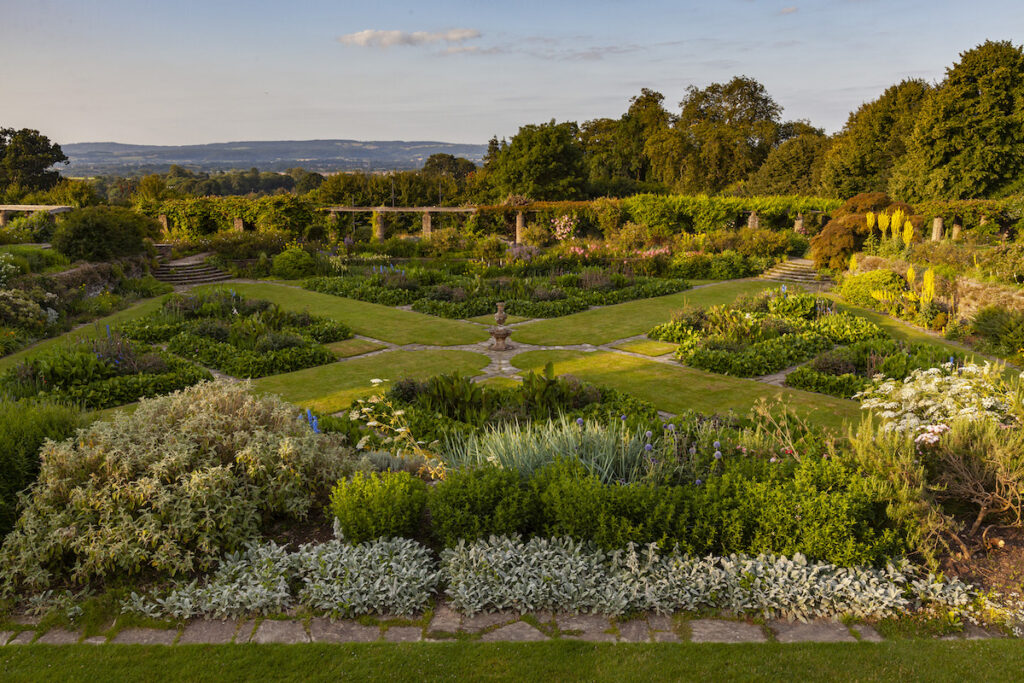 the formal garden in late afternoon sun