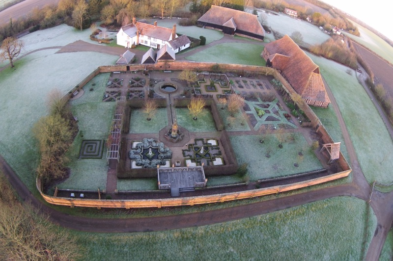 Aerial view of Cressing Temple walled garden