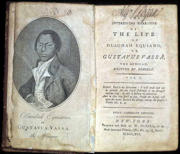Photo of the frontispiece and title page of The Interesting Narrative of the Life of Olaudah Equiano or Gustavus Vassa the African